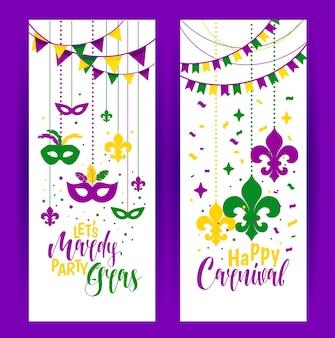 Mardi gras-parels gekleurd kader met een masker