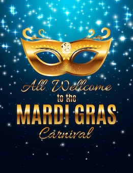 Mardi gras party mask holiday poster achtergrond. illustra