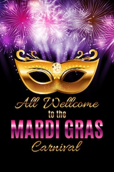 Mardi gras party mask holiday poster achtergrond. illustra Premium Vector