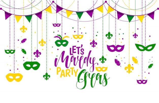 Mardi gras-pictogrammen gekleurd kader met een masker