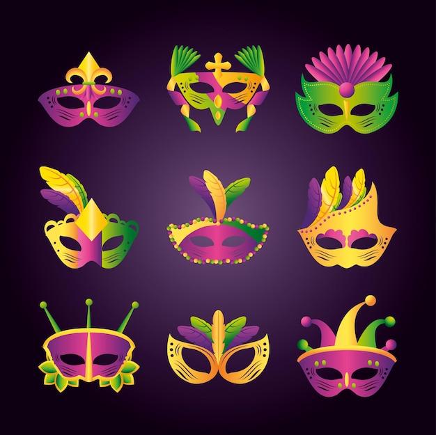 Mardi gras pictogrammen instellen met verschillende maskers met veren en sieraden vectorillustratie
