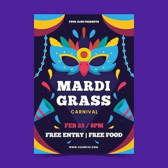 Mardi gras platte poster ontwerpsjabloon met masker en feestmuts
