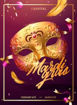 Mardi gras poster met gouden luxe masker en confetti in 3d illustratie