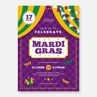 Mardi gras poster sjabloon in plat ontwerp