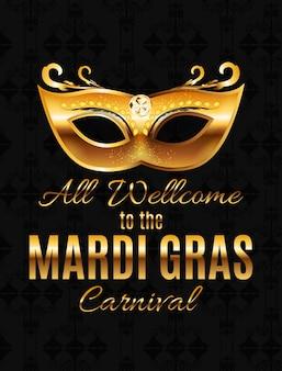 Mardi gras py mask holiday poster achtergrond. illustra Premium Vector