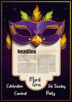 Mardi gras-sjabloon met paarse veren masker poster