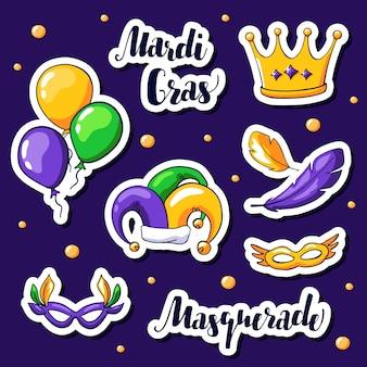 Mardi gras stickers instellen