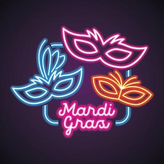 Mardi gras voor masker carnaval met neonlicht