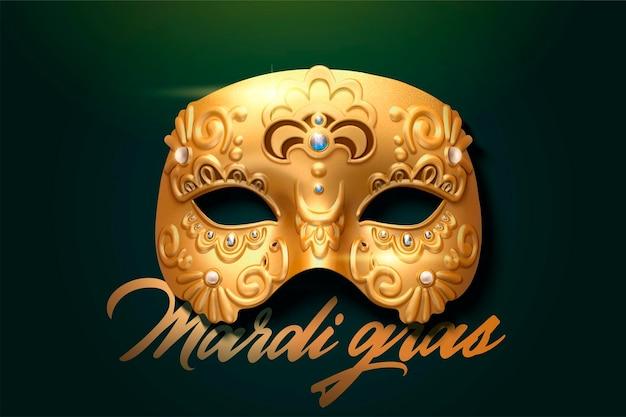 Mardi gras voortreffelijk gouden maskerontwerp in 3d illustratie
