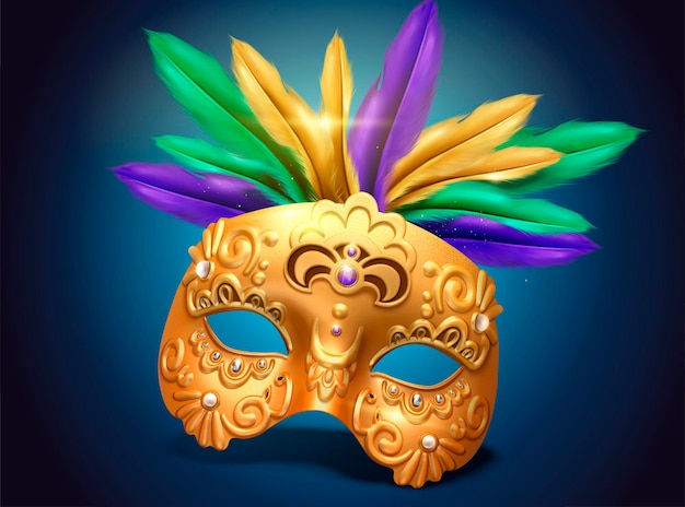 Mardi gras voortreffelijk gouden maskerontwerp met kleurrijke veren in 3d illustratie