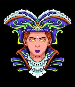 Mardi gras vrouwelijke piraat illustratie