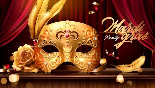 Mardi grasbanner met gouden luxueus masker in 3d illustratie op stadiumachtergrond, bokeheffect