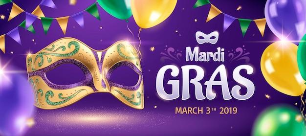 Mardi grasbanner met gouden masker en ballonnen in 3d illustratie, feestachtergrond