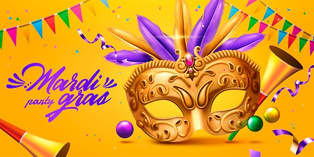 Mardi grasbanner met gouden masker en feesthoorn in 3d illustratie