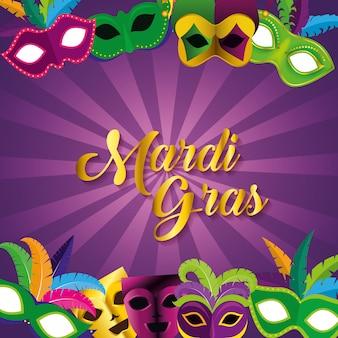 Mardi grasviering met maskers voor festivalfeesten