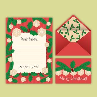 Maretak kerst briefpapier sjabloon groeten kaart