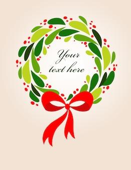 Maretak krans van kerstmis. vector frame sjabloon