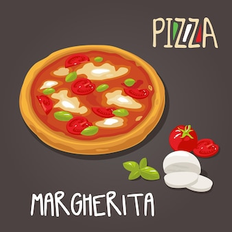 Margherita pizza met ingrediënten. geïsoleerde vector vlakke stijl illustratie instellen.