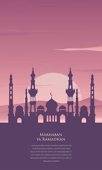 Marhaban ya ramadan achtergrond met moskee