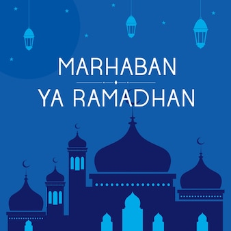 Marhaban ya ramadhan vector achtergrond