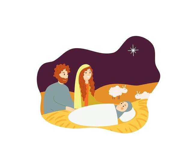 Maria; jozef; jezus baby kerst kerstverhaal geïsoleerd Premium Vector