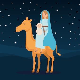 Maria-maagd met jezus baby in kameel