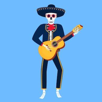 Mariachi. grappig skelet speelt gitaar. suikerschedel voor de dag van de doden.
