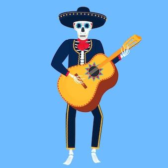 Mariachi. grappig skelet speelt guitarron. suikerschedel voor de dag van de doden.