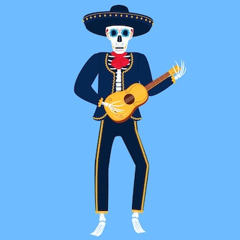 Mariachi. grappig skelet speelt spaanse gitaar. suikerschedel voor de dag van de doden.