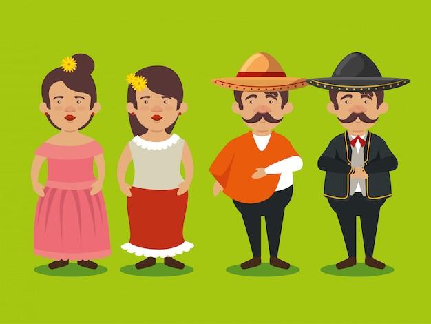 Mariachi mannen en vrouwen om feest te vieren