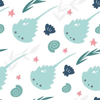 Marien vector naadloos patroon met leuke pijlstaartroggen, zeeschelpen, algen en zeesterren