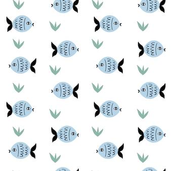 Marien vector naadloos patroon met vissen