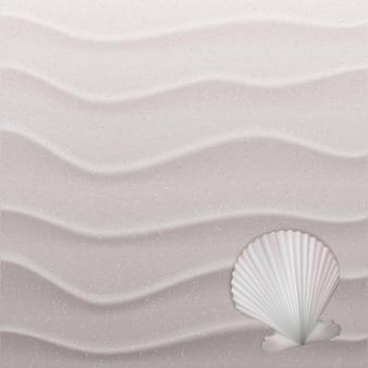 Mariene achtergrond met zeeschelp op zand. vector illustratie