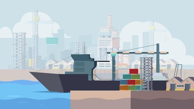 Mariene dokken. vrachtschip laden containers boot in zeehaven vector achtergrond. containerzeehaven, scheepsvracht, zeetransportillustratie