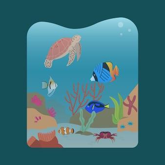 Mariene ecosysteem illustratie