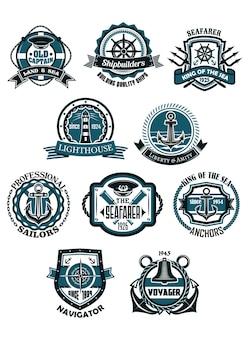 Mariene en nautische heraldische emblemen of pictogrammen in retro stijl