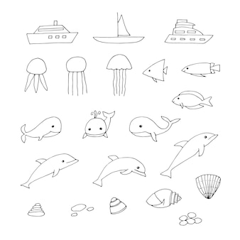 Mariene illustraties set, boten, kwallen, vissen, walvissen, dolfijnen, schelpen en kiezels, vectorillustratie, doodles, hand getrokken