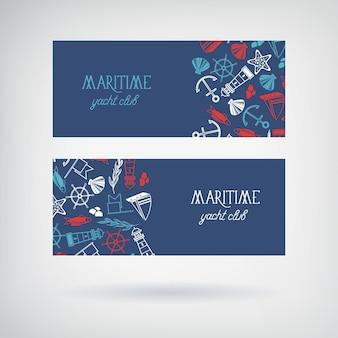 Mariene jachtclub horizontale blauwe spandoeken met kleurrijke pictogrammen geïsoleerd op wit plat