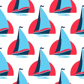 Mariene naadloze patroon met zeilboot op de golven tegen de rijzende zon.