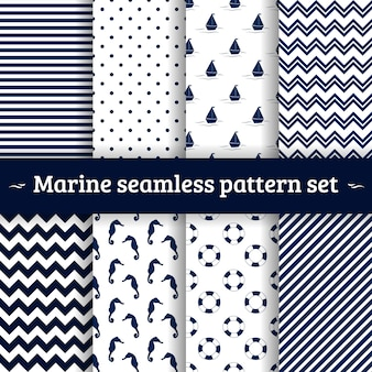 Mariene naadloze patroon vector set