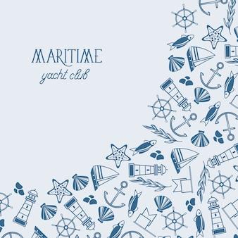 Mariene ontwerpsjabloon met inscriptie schets zee en nautische elementen in vintage stijl