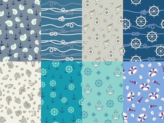 Mariene patronen. marine anker, blauwe zee textuur en oceaan nautische kompas naadloze patroon set