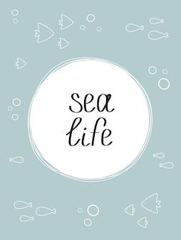 Mariene poster met een blauwe achtergrond zeeleven