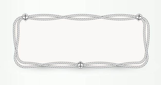 Mariene vector poster achtergrond concept. horizontale banner sjabloonontwerp met nautische touw omtrek en anker embleem. frame ontwerpsjabloon voor marketing, media, reclame, kaart en presentatie.