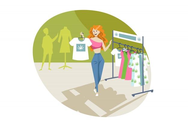 Marihuana, kleding, winkelen, merchandise, cannabis concept