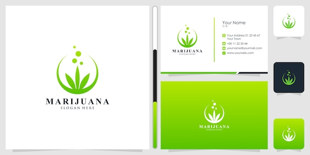 Marihuana logo ontwerp en visitekaartje