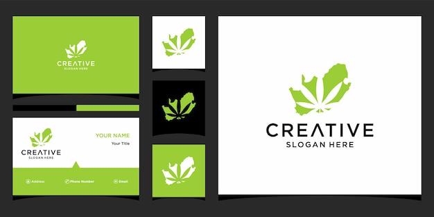 Marihuana-logo-ontwerp met sjabloon voor visitekaartjes