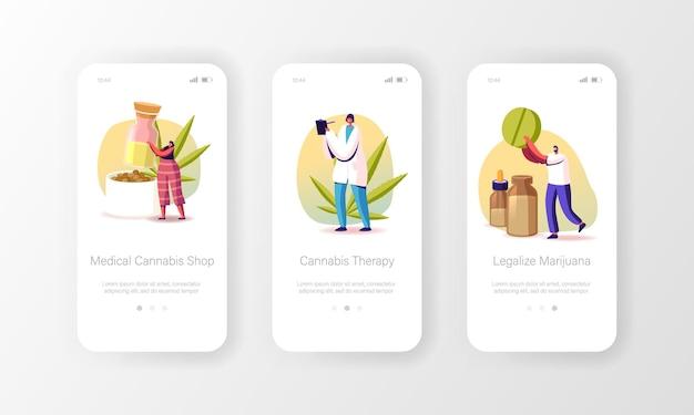 Marihuana-medicijnen voor persoonlijk gebruik mobiele app-pagina onboard-schermsjabloon