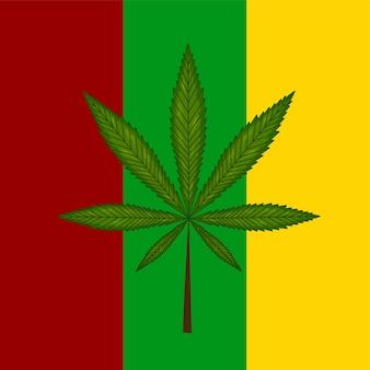 Marihuanablad op reggaevlag. vector illustratie.