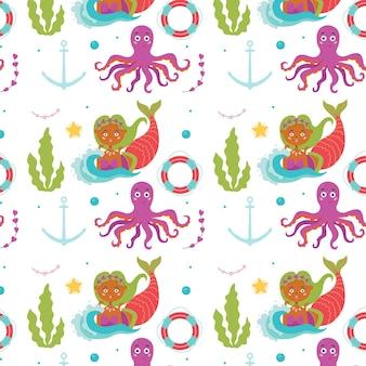 Marine baby patroon zeemeermin octopus
